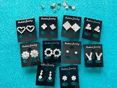 JOB LOT-10 pairs of different styles PIERCED crystal diamante earrings.UK made.