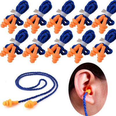 10Pcs Soft Silicone Corded Ear Plugs Reusable Hearing Protection Earplugs