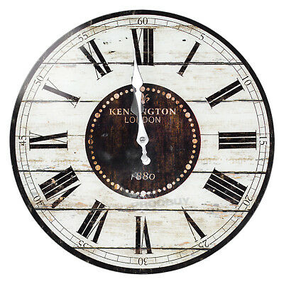 34cm Glass Wall Clock Kitchen Home Office Bedroom Vintage Antique Rustic Decor