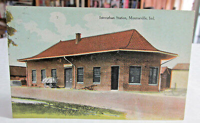 1911 MONROEVILLE INDIANA Interurban Station, Depot, Traction Train, Street Cars