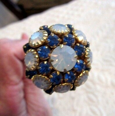 """Vintage 12"""" Long Hatpin With Blue & Iridescent Opalescent Rhinestones"""