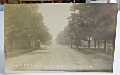 1910 HUNTERTOWN INDIANA Real Photo Postcard RPPC of Main St. Street Car Tracks