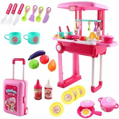 deAO Kitchen Little Chef Set in Convertible Suitcase Portable Playset Carrycase