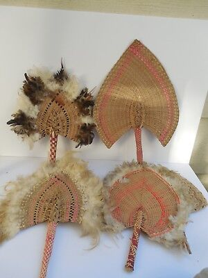 """5 x Micronesia fans collection Vintage still with great colors handwoven 18"""""""