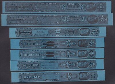 US 7 Vintage Tobacco Tax Strips Series 123 Unperforated  (L116)