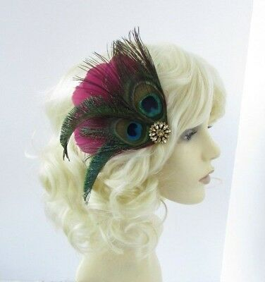 Burgundy Wine Red Green Gold Peacock Feather Fascinator Hair Clip 1920s Vtg 6560