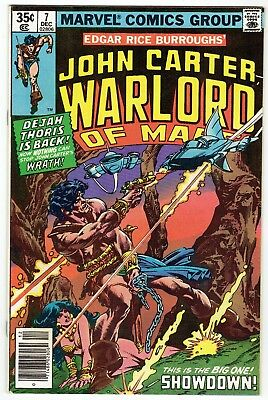 John Carter Warlord of Mars No 7 December 1977 Marvel Comics Good to VG Shape