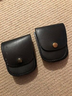 Ex Police 2 x Black Leather Pouches. Used. 997.