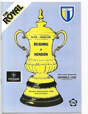 Reading v Hendon FA Cup 1st Round 19/11/1988