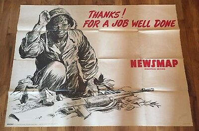 World War Ii Poster Newsmap Industrial Edition Soldier With Kit Majoujian 1945