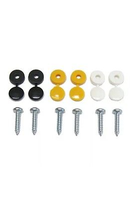 6 Pack Number Plate Screw Cap Fitting Fixing Black Yellow White Set Kit 2 Each