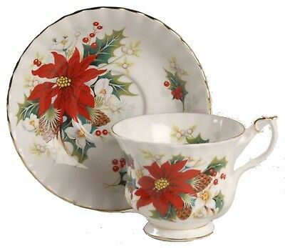 Royal Albert Christmas China POINSETTIA Coffee Cup & Saucer Yuletide
