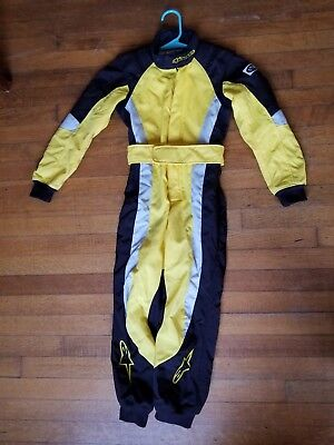 Alpinestars youth go kart racing suit, shoes and carry bag