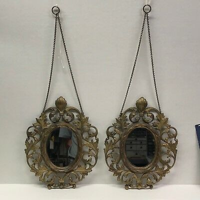 Pair of matching Antique Vintage Ornate French Victorian Brass Hanging Mirrors