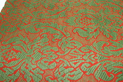 Red Green Vintage Antique Woven Coverlet Quilt Piece Christmas Crafting Nice