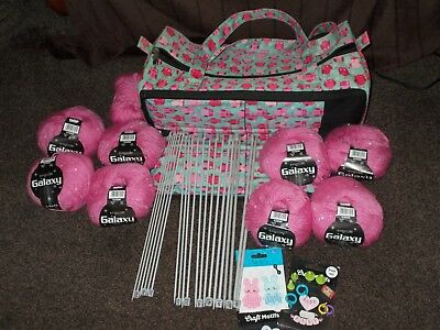 Job Lot Galaxy Knitting Wool,knitting Needles,bag & More