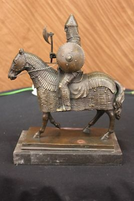 Rare Bronze Metal Statue Marble Base Medieval Middle Ages Knight Guard Battle