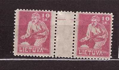 Lithuania 1921 AJ No87 HP horizontal gutter pair  mint never hinged