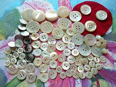 90 Assorted Mother of Pearl Vintage Buttons & Shell