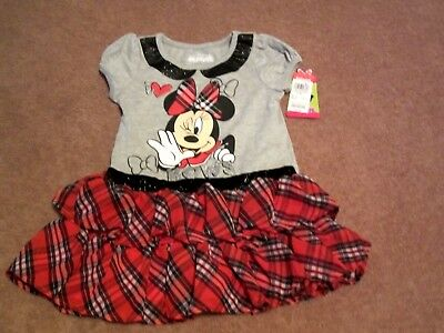 Baby Girls Toddler Disney Minnie Mouse Red/Gray Plaid T-Shirt Dress Size 4T