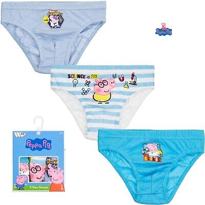 Official Peppa Pig Boys Briefs 3 Pack George Pig Slips Pants Cotton 2-8 Year