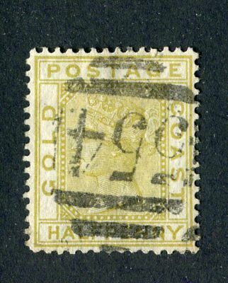 Gold Coast 1876-84 QV. 1/2d olive yellow. Used. Crown CC. SG 4.