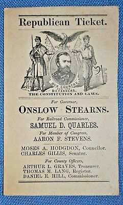 1869 Republican Ticket for New Hampshire Governor - Onslow Stearns