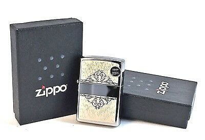 BRAND-NEW High Polish Chrome Floral Filigree Initial Zippo Lighter In Box 28467