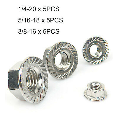 15Pcs 1/4 5/16 3/8 UNC Serrated Flange Nuts Flanged Nut Kit - A2 304 Stainless