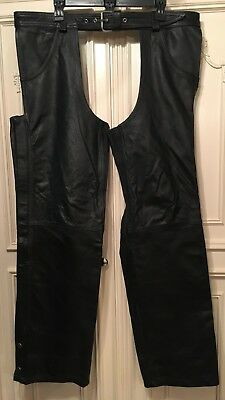 Excelled New York, NY Men's Black Leather Chaps 40 Reg