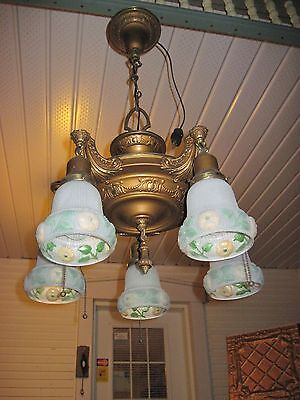 Great Brass Ornate Antique Hanging Light Fixture With 5 Reverse Painted Shades