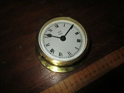 Diplex Quartz Bulkhead clock . Small Ships Clock.Brass cased battery Ships Clock