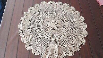 ***Vintage pretty Beige round  crochet Doiley 58 cms lovely,***