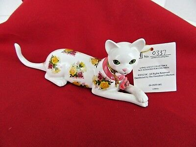 ELEGANT BLOSSOMING FELINE Cat Figurine Hamilton Collection Blooming