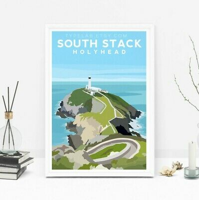 South Stack Holyhead Art Print, Anglesey Wales Travel Poster Orig Illustration
