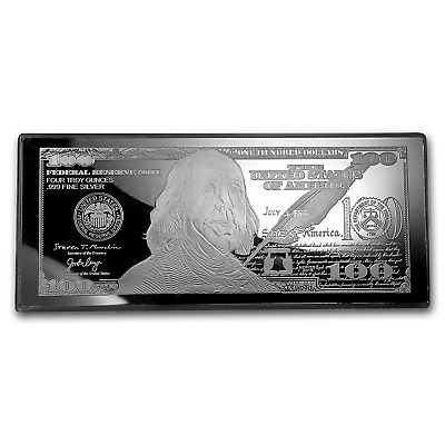 4 oz Silver Bar - 2019 $100 Bill (w/Box & COA) - SKU#176793