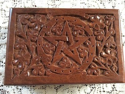 Carved Pentagram Tarot Box With New Tarot Cards Sealed Deck
