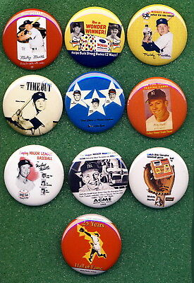 Mickey MANTLE *PINs* (10) LOT#15 1952 - 64 Star Cal Wonder Briggs Armour Acme