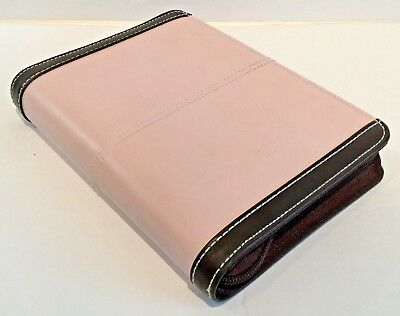 FRANKLIN COVEY Compact PLANNER 6 Ring Binder ORGANIZER Faux Leather PINK Brown