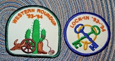 2 Girl Scout Patches Patch Never used 1993 Western Roundup and 1993 Lock-In