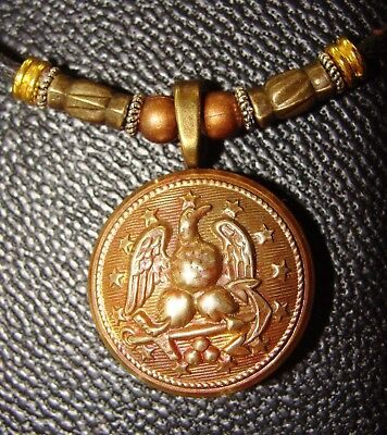 Post Civil War EAGLE BUTTON Necklace Pendant Jewelry - Vintage Old Military
