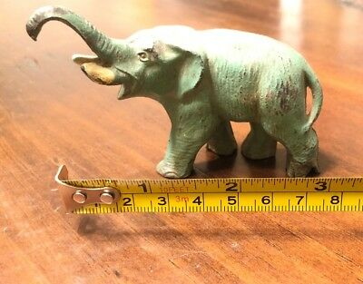 Old Vintage Cast Iron Elephant Paperweight ?? Door Stop ?? Original Green Paint