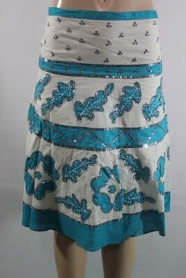 $ 194 New Bcbg Max Azria Skirt Embroidery Leaves Sequiens Skirt Sz 4 Beuty