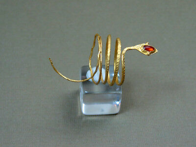 Hellenistic Gold Snake Ring With Garnet Stone 200-100 Bc