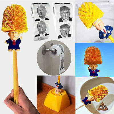 President Donald Trump Toilet Brush Roll Paper Funny Gag Gift Toilet Bowl Brush
