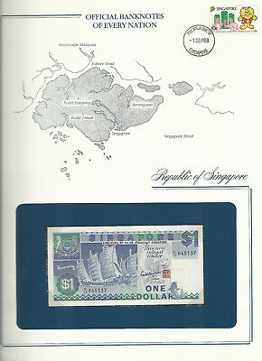 Banknotes of Every Nation Singapore P-18a 1 dollar 1987 UNC Prefix C/10