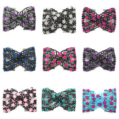 Fashion Magic Hair Slide Easy Double Beads Stretchy Hair Comb Clips Accessories