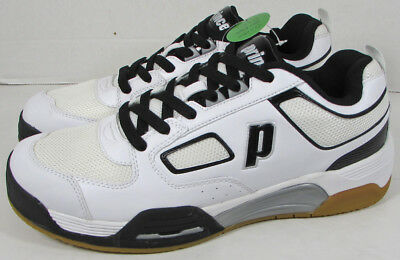 Prince Mens Assault Indoor Court Sneaker Shoes, White/Black/Silver, US 7.5