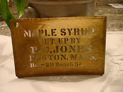 Rare,antique Brass Stencil Advertising Maple Syrup From Boston Aafa