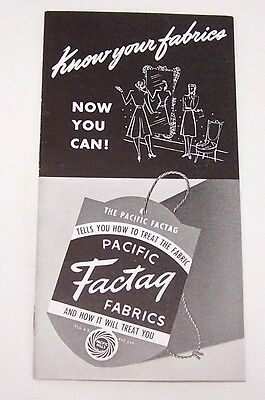 1940's Org Pacific Factag Fabrics Brochure-Pacific Mills-New York